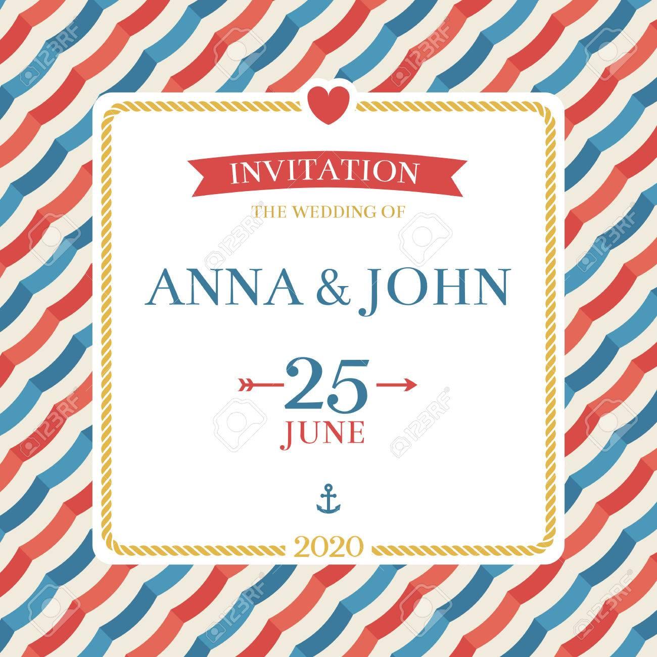 Marine Nautische Hochzeitseinladung. Anker, Streifen Und Seil Hochzeit  Einladung Kartenvorlage Für Feier, Party