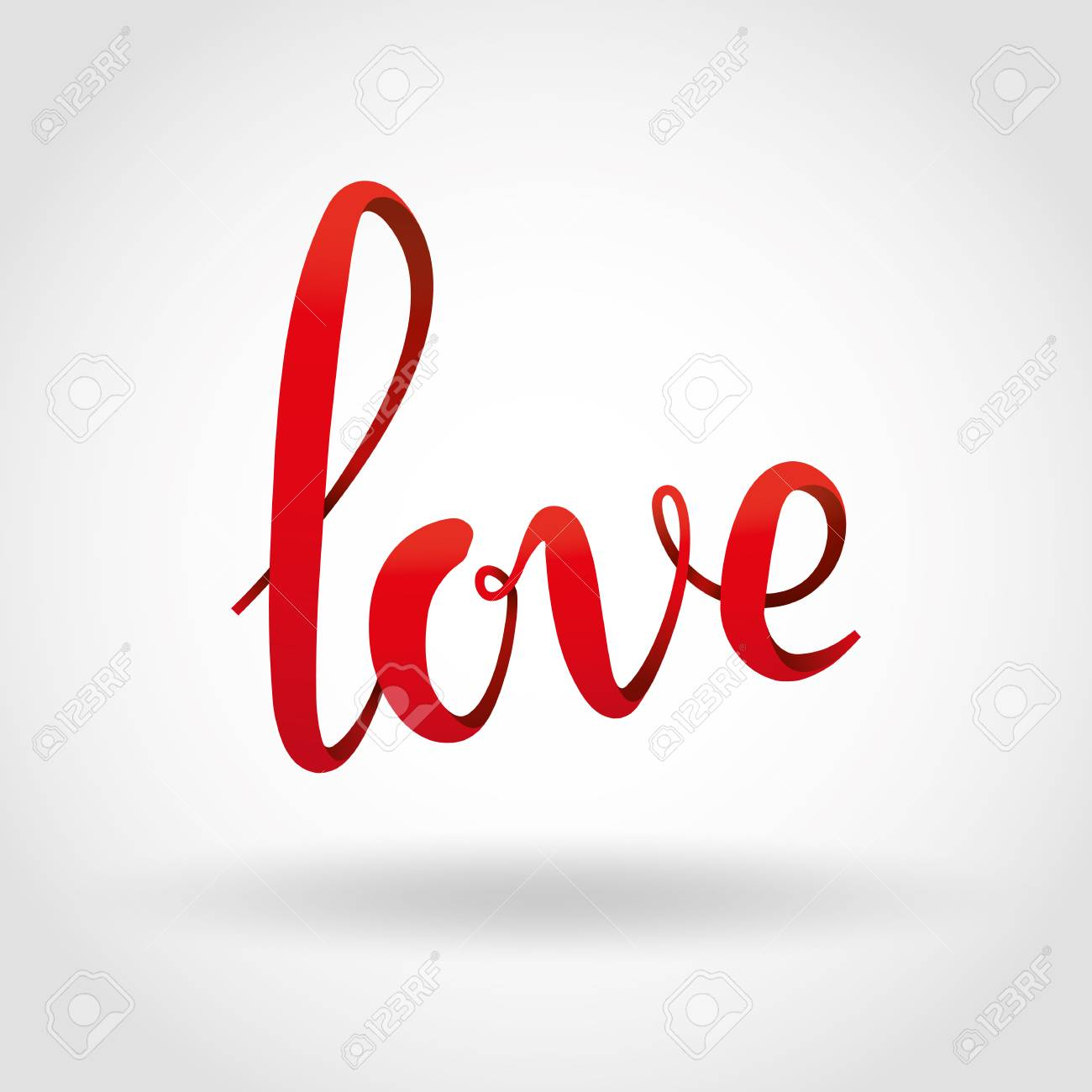 Love red 3d lettering background. Love volume script logotype for card, invitation, banner