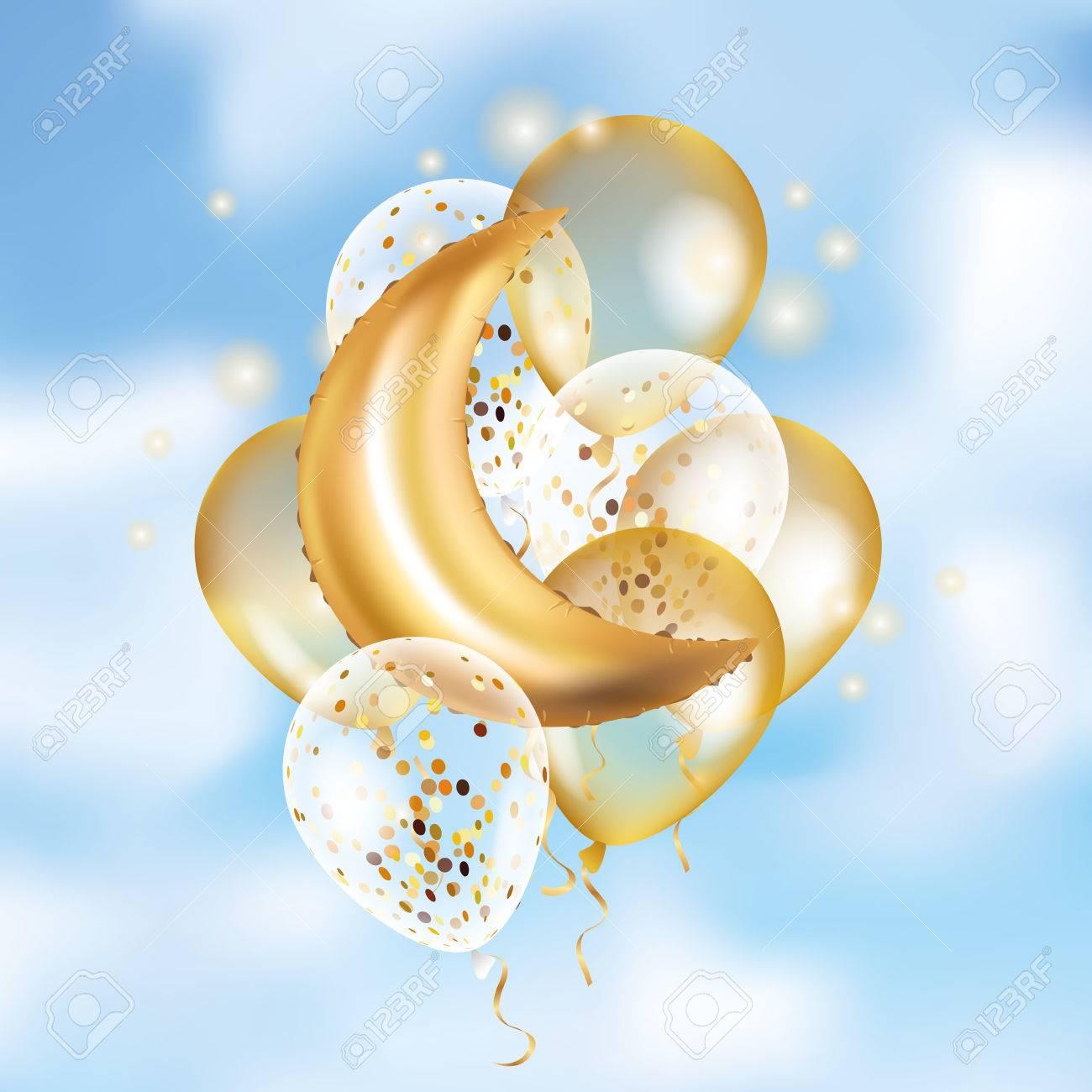 gold crescent moon balloon ramadan royalty free cliparts vectors