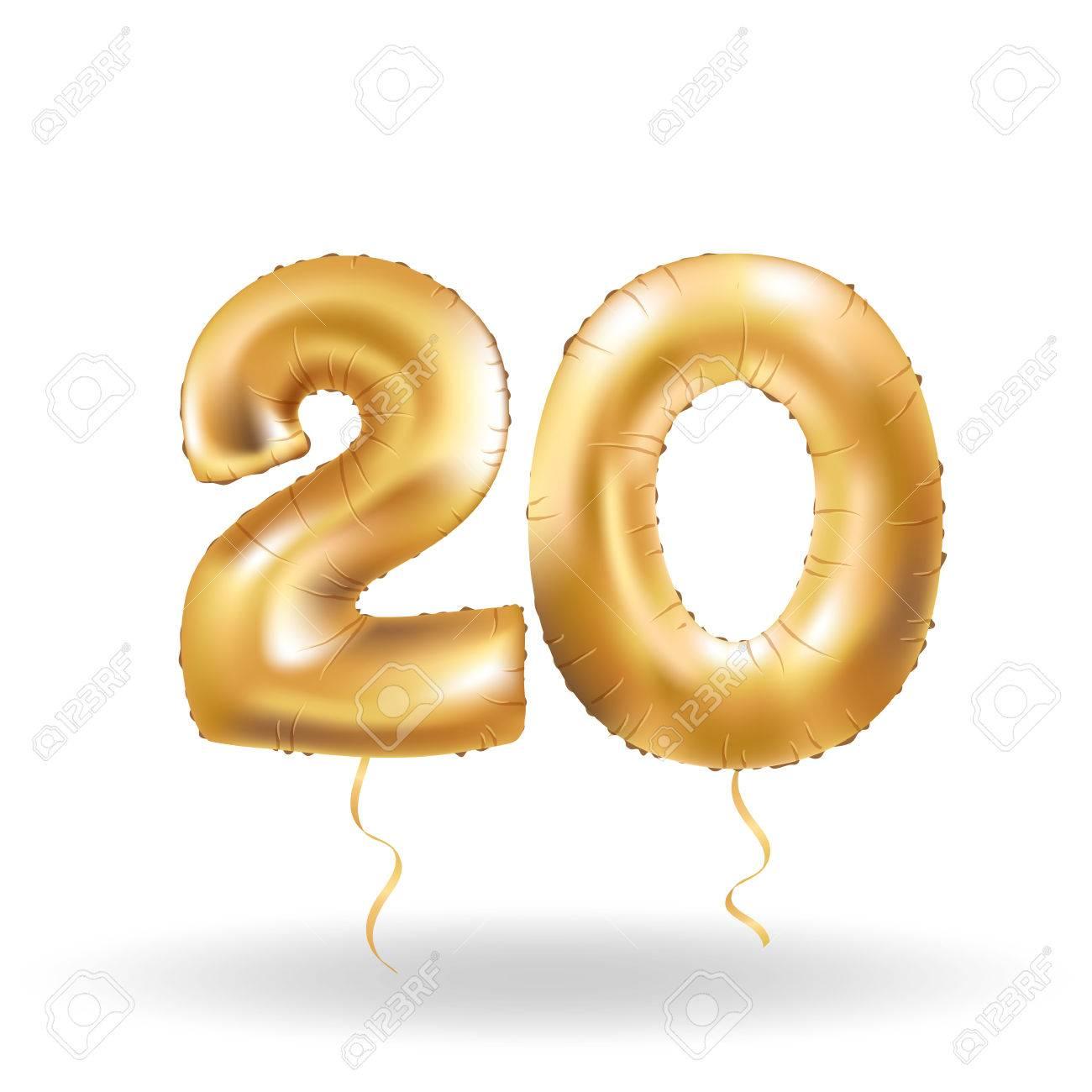 number twenty metallic balloon - 79160224