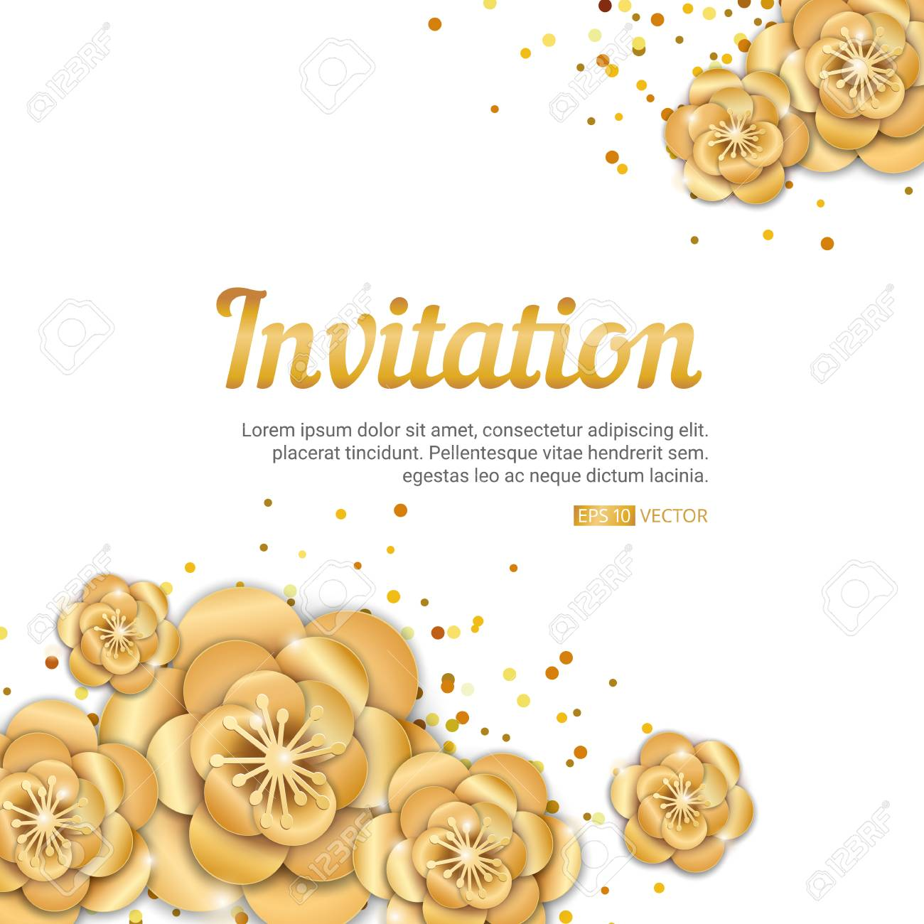 Gold lotus flower invitation banner spring flower invitation gold lotus flower invitation banner spring flower invitation background paper art flowers template for stopboris Images