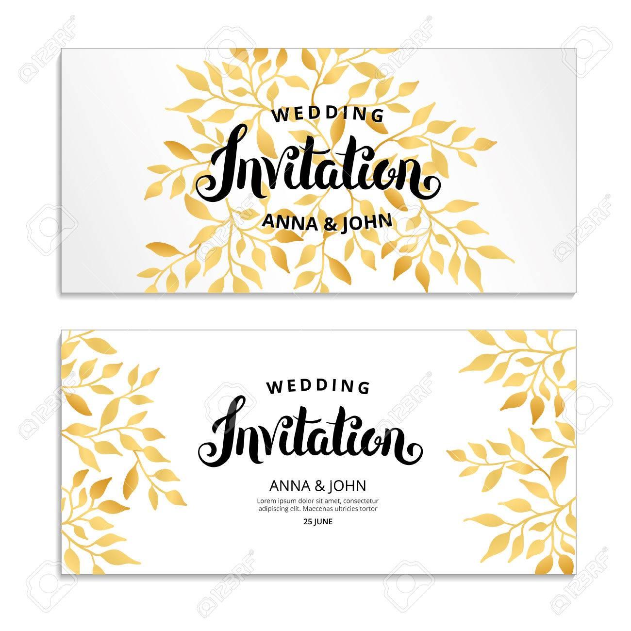 e6a17d4ceee1 Gold Floral invitation Stock Vector - 82285140