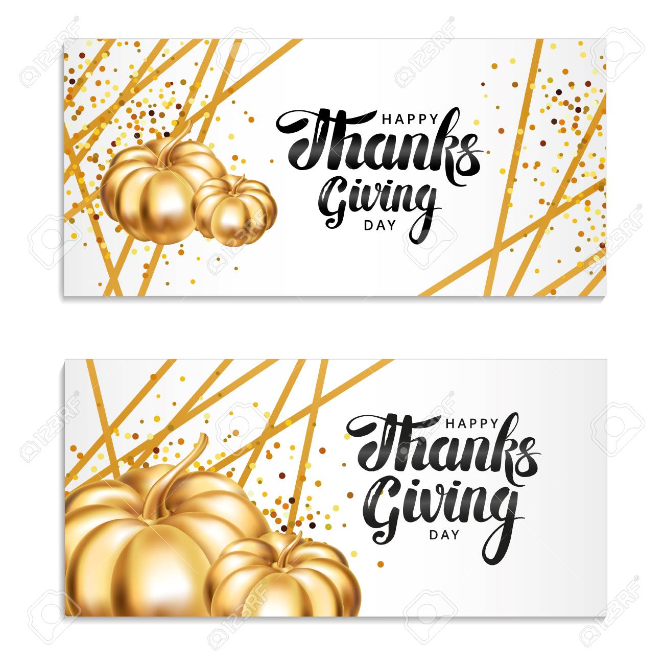 Happy Thanksgiving Day Greeting Card Template Lettering Gold