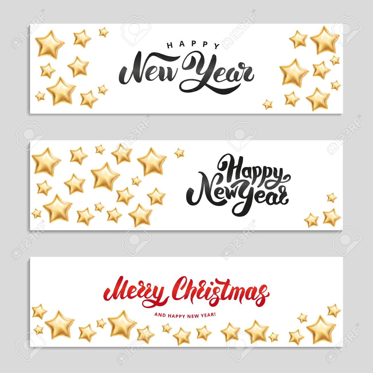 gold star happy new year invitation background banners christmas banner text line