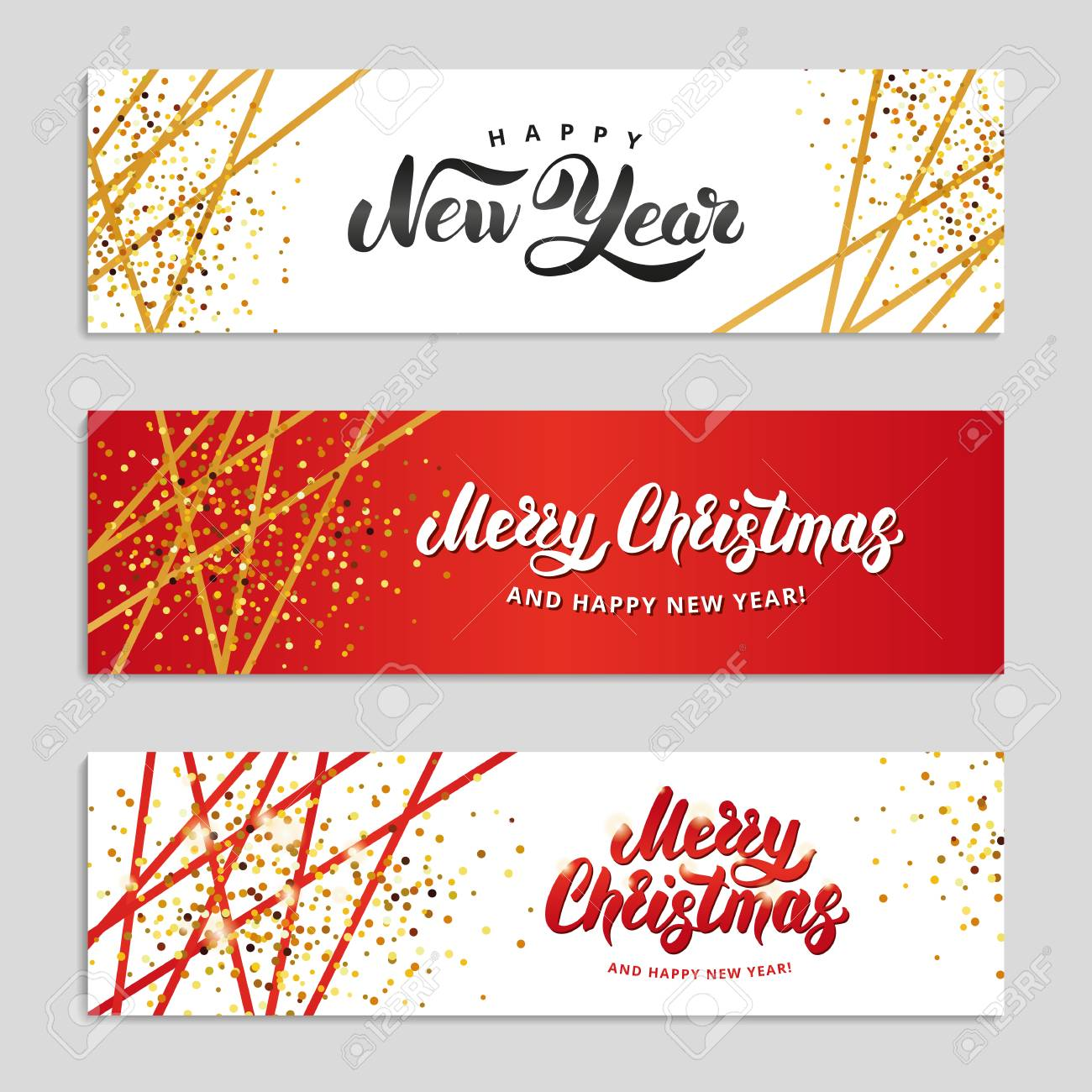 Gold Sparkles Happy New Year Background Gold And Red Banners