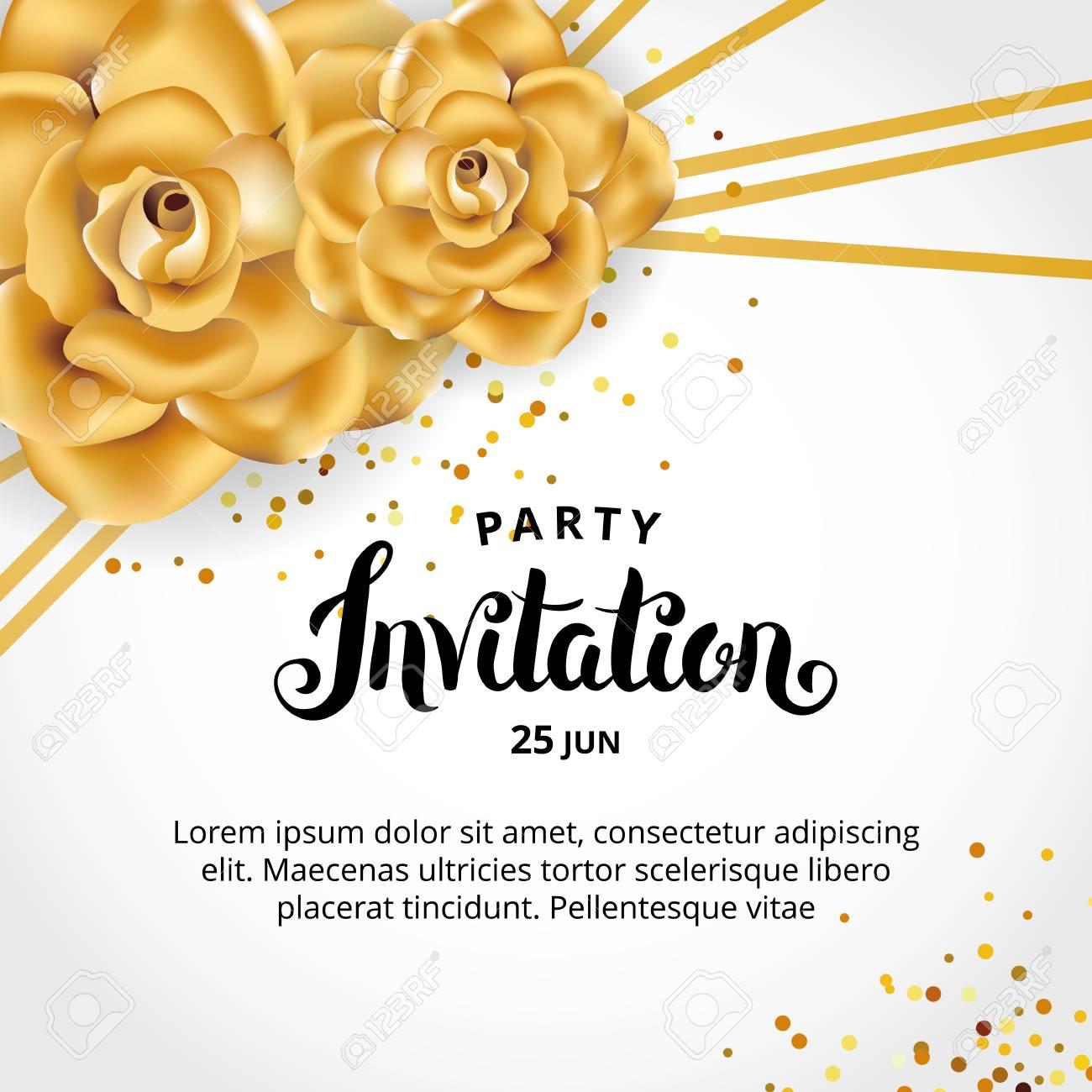 Gold Line Floral Invitation Card Design