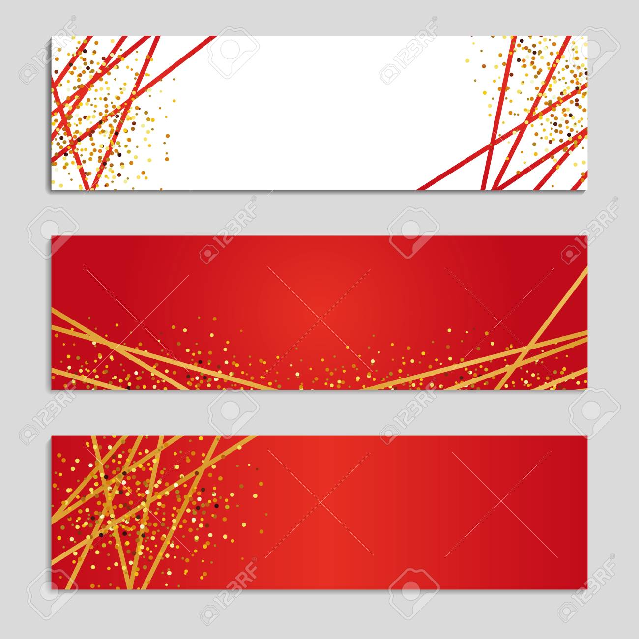 Gold Line Red Banners. Golden Glitter Shine Sparkles Invitation ...