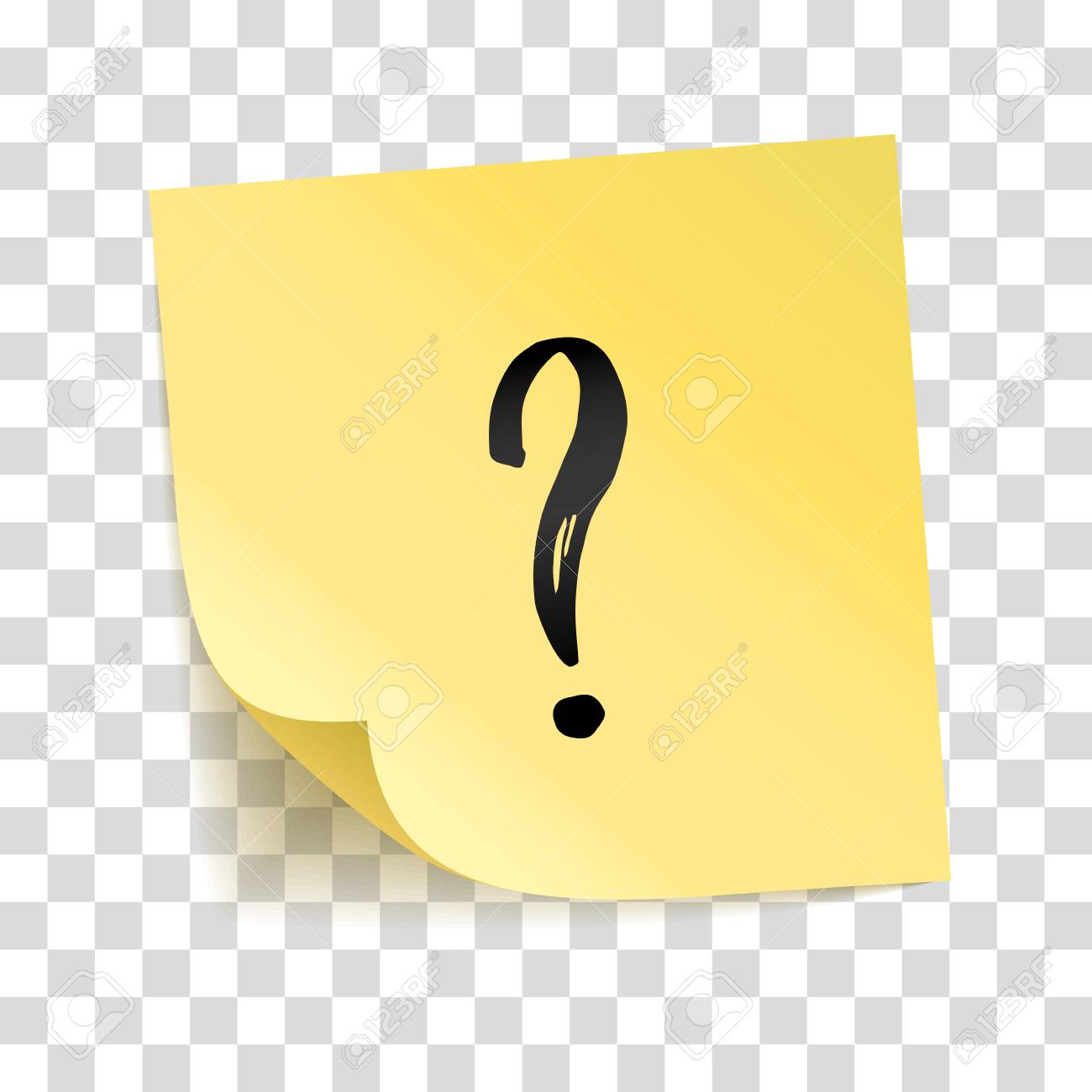 Note yellow sticker question mark, interrogation point, Information notise. Typography icon on stick. Transparent background, shadow, answer and question service. To do list. Sticky message, notice - 92332289