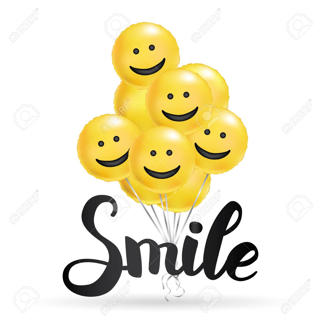 Smile yellow balloons background. Fun character people, bright balloon. Smiley, Funny friends. Comic text, humor message, Greeting card, motivation design, Laughing face. Positive mood poster banner - 92434242