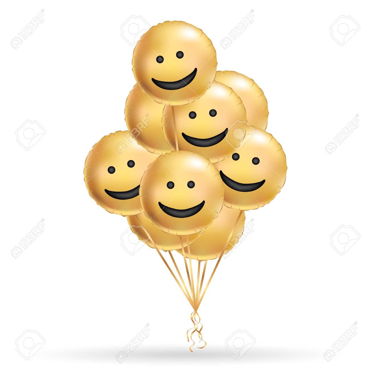 Sorriso Ouro Fundo De Balões Pessoas De Caráter Divertido Balão De Ouro Smiley Amigos Engraçados Texto Em Quadrinhos Mensagem De Humor Cartão