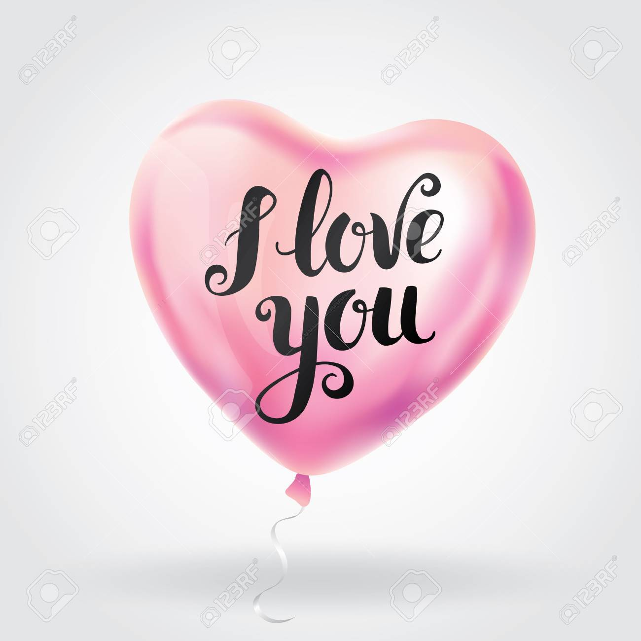 Pink heart balloon i love you happy valentines dayeeting card happy valentines dayeeting card sign banner valentine shine calligraphy text type typography 14 february romantic love greeting card lovely gift m4hsunfo