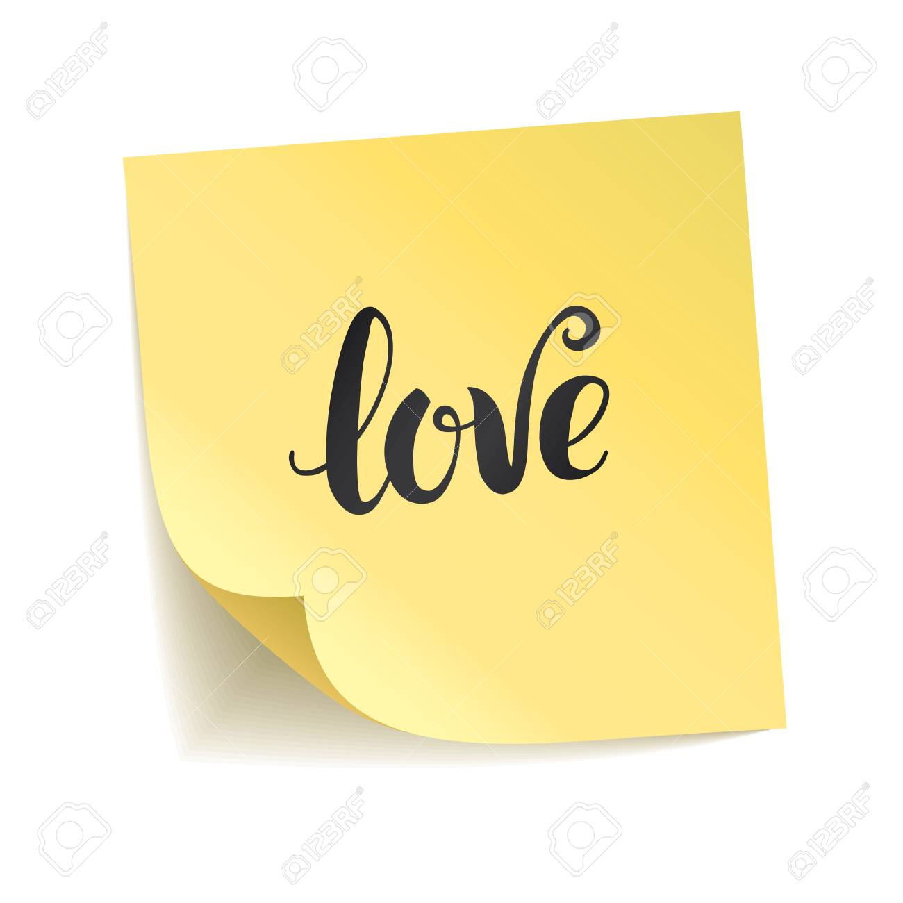Note yellow sticker i love you happy valentines day heart symbol typography logo
