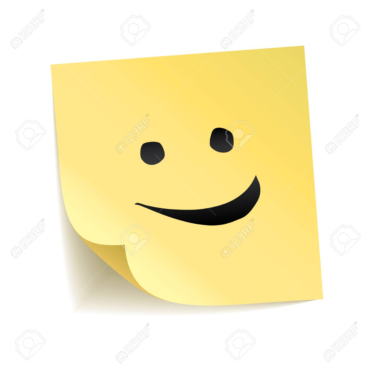 Note yellow sticker smile stick on transparent background smiling happy face cute emoticon