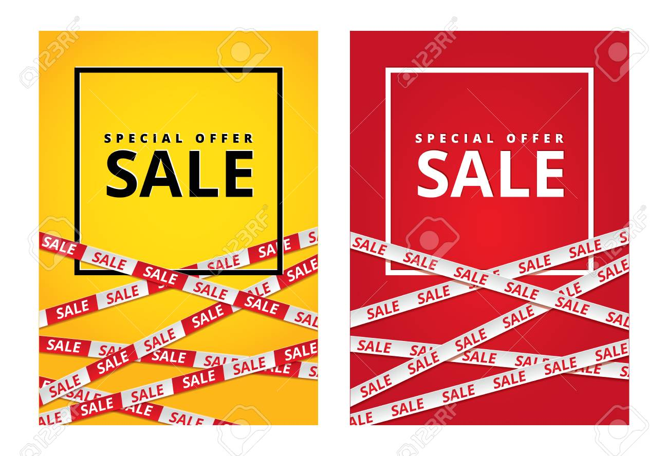 Red and yellow sale tape ribbon card - 96868929