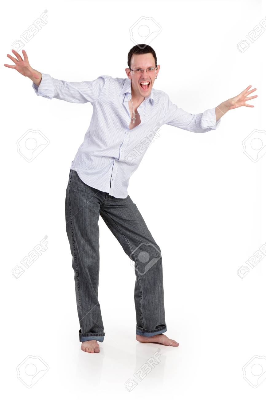 Fun cheerful young man isolated on a white background Stock Photo - 15129179