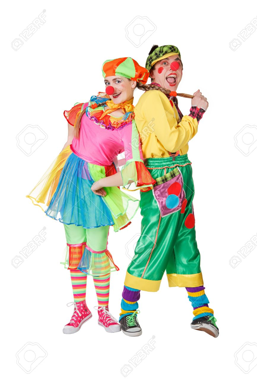 couple of happy clowns isolated on white stock photo picture and