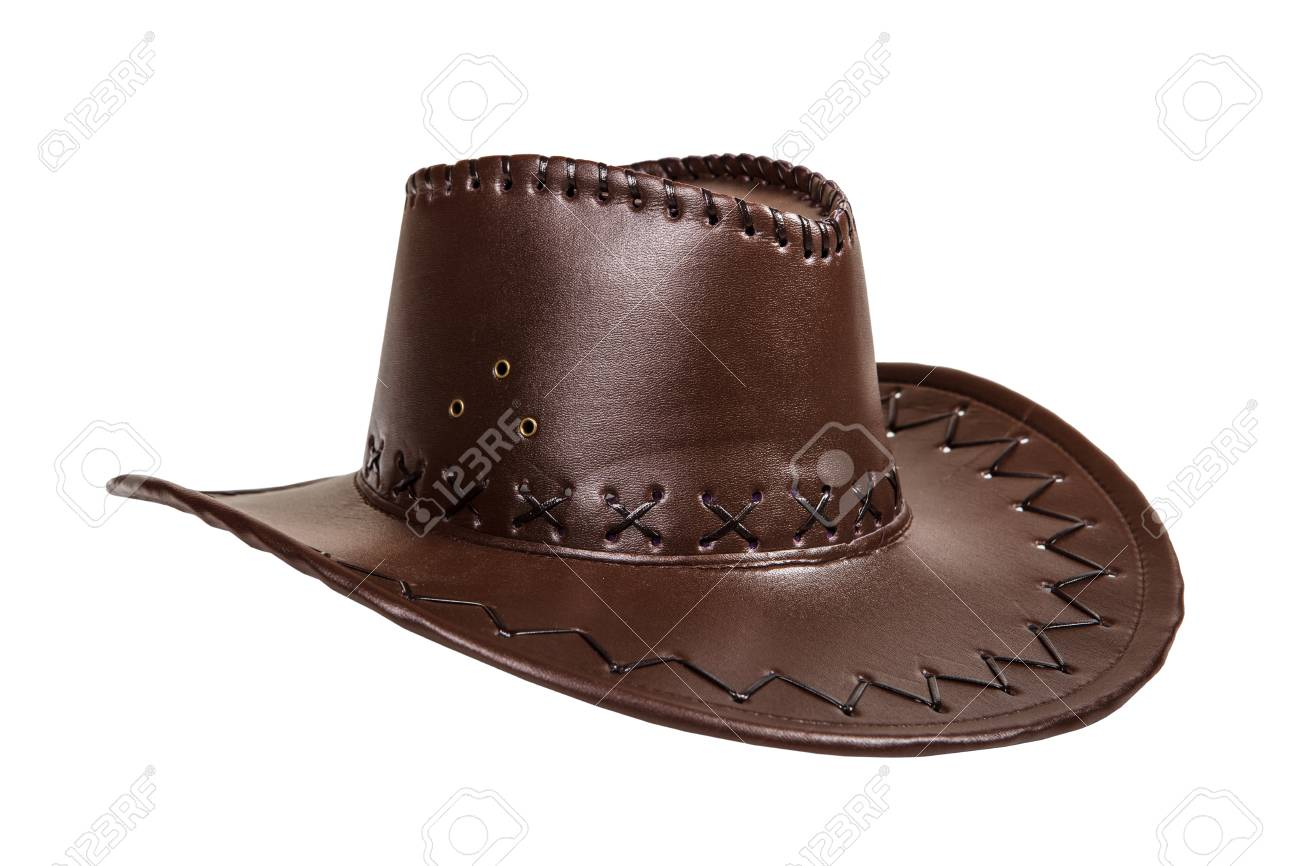 7017f9919f4a1 Leather cowboy hat isolated on white background Stock Photo - 26656743