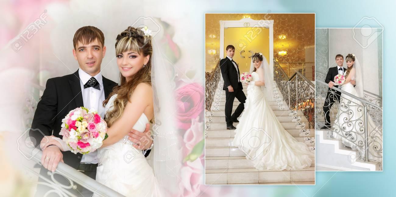 Collage Happy Braut Und Brautigam Auf Strichleiter An Der Hochzeit