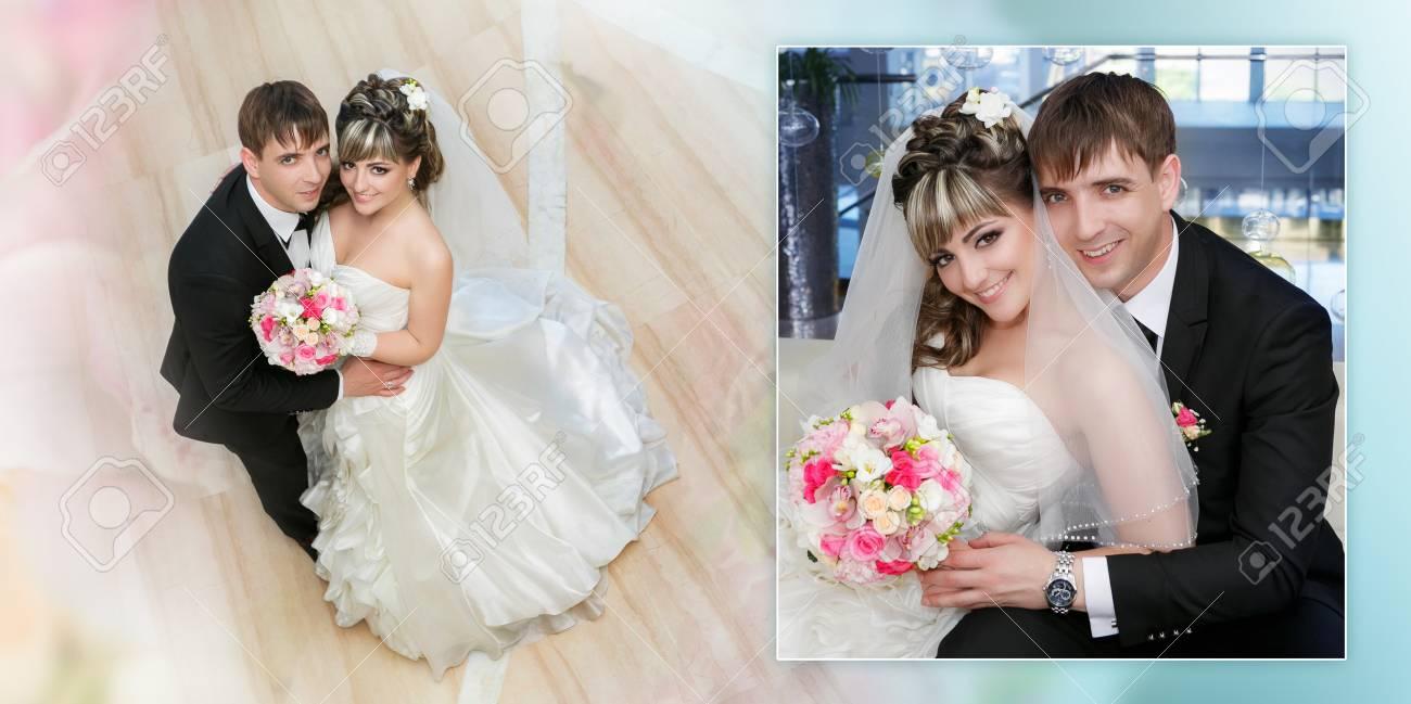 Collage Brautigam Und Die Braut Mit Einer Hochzeit Bouquet Von