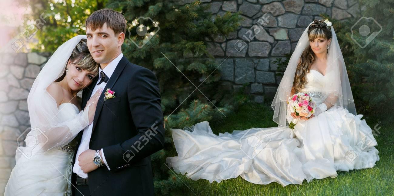 Collage Brautigam Und Braut Auf Weg Im Tag Ihrer Hochzeit