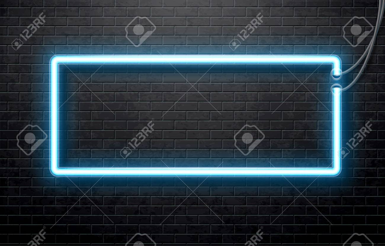 Illustration of neon blue banner isolated on black brick wall - 51324881