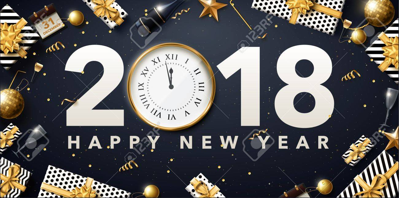 vector vector illustration of 2018 new year banner in gold and black design