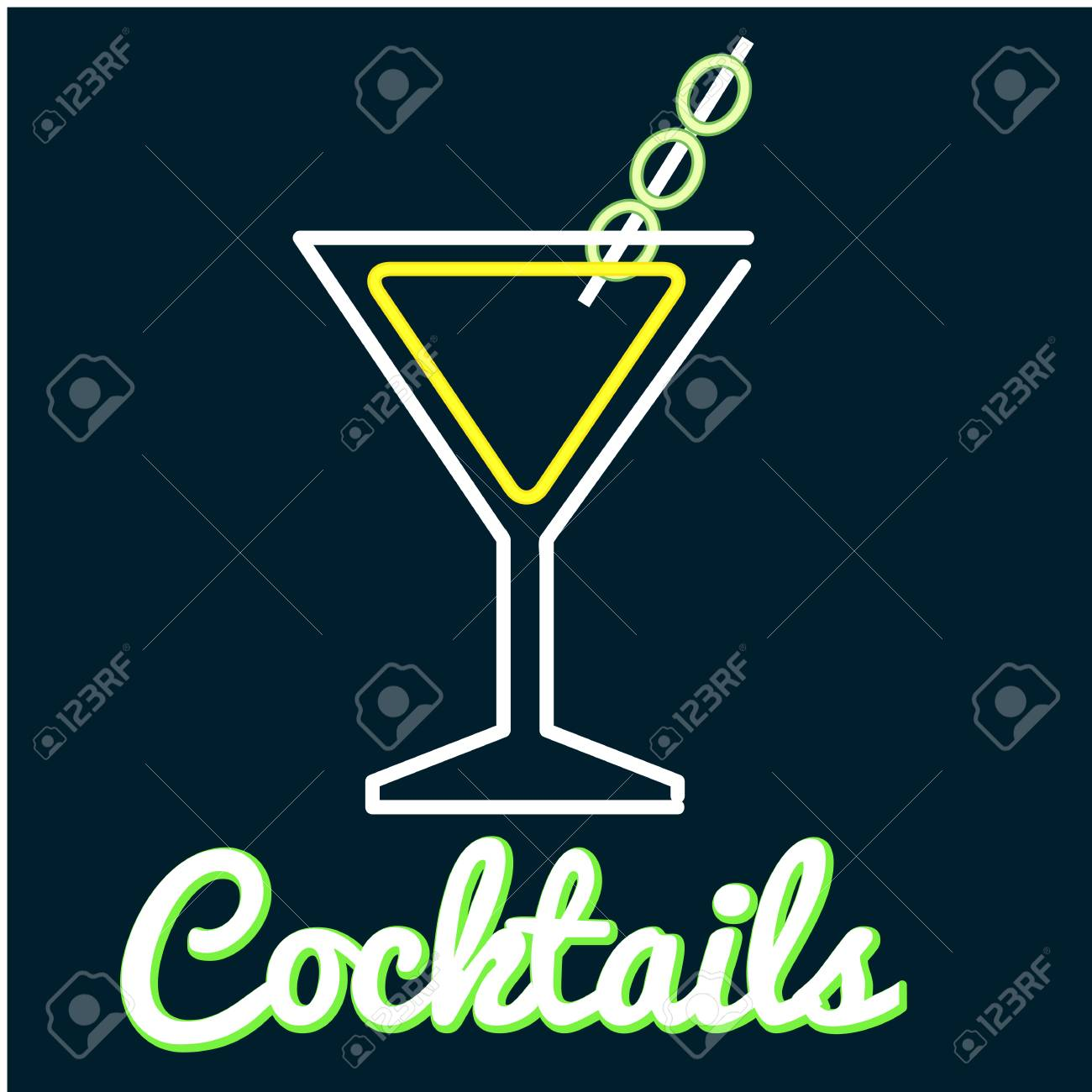 64eff354a064 Cocktail Glass Of Cocktail Neon Background Vector Image Stock Vector -  96962088