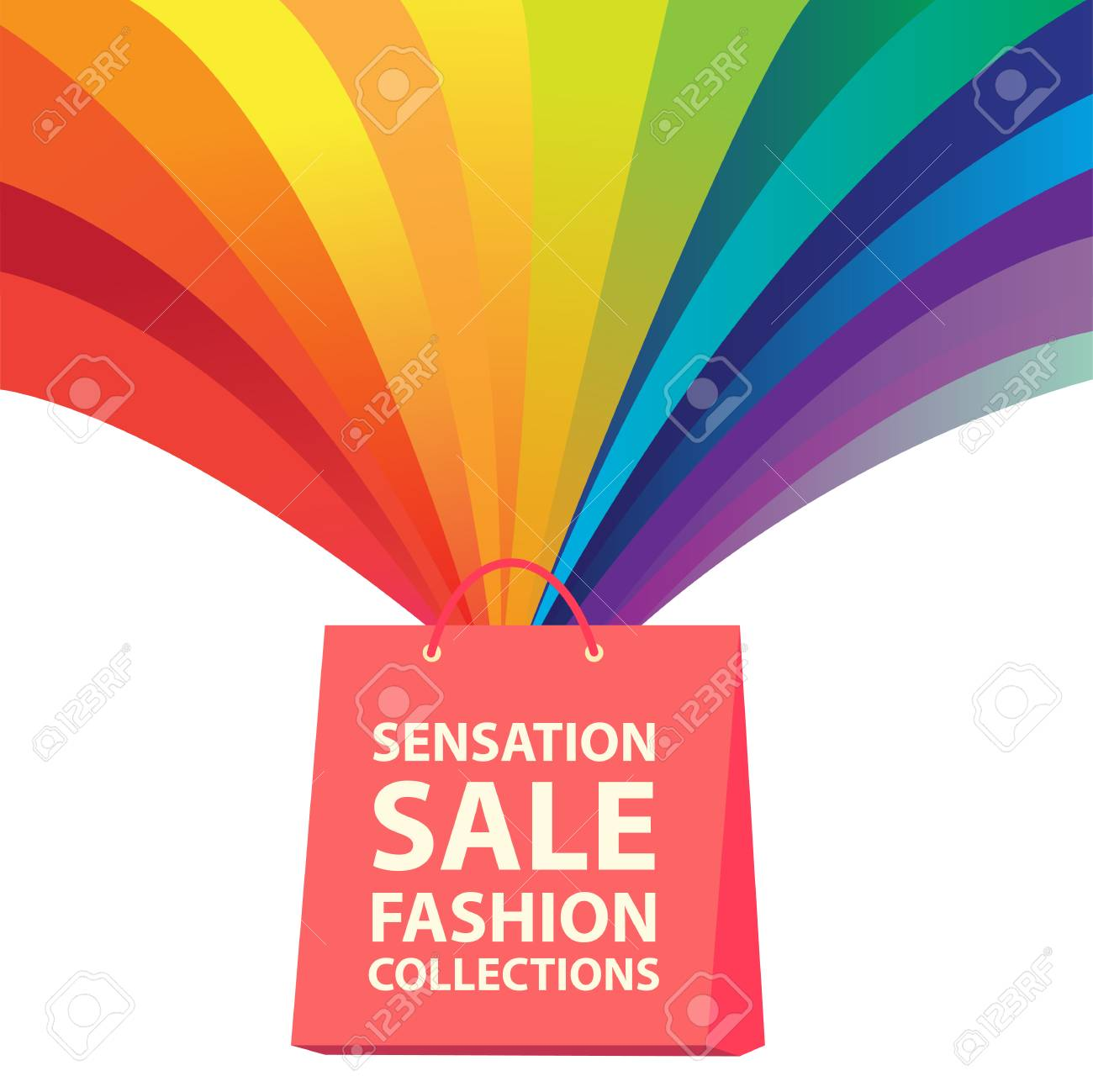 1abe041701c Sensation Sale Fashion Collections Rainbow Shopping Bag Vector Image Stock  Vector - 107225010