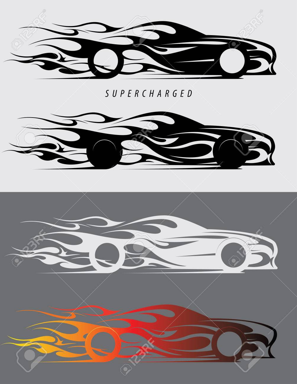 Sports car logo design with fire flames textile prints vinyl stickers and decals for