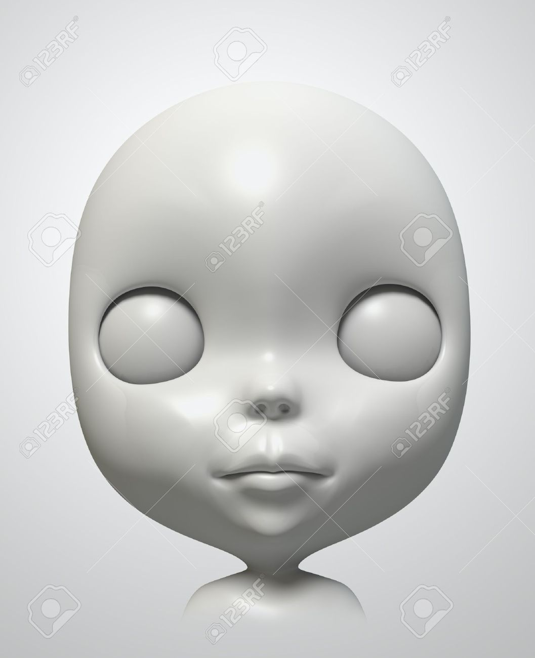 face of blythe on white background. Isolated 3d model Stock Photo - 11671604