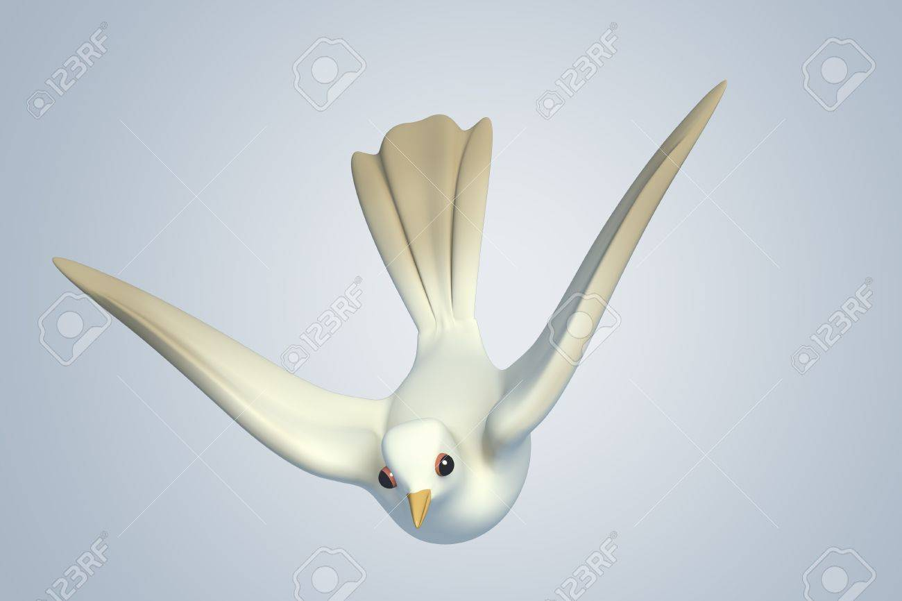 white Pigeon dove.model 3D Isolated on blue background. Bird's Eye View Stock Photo - 11886407