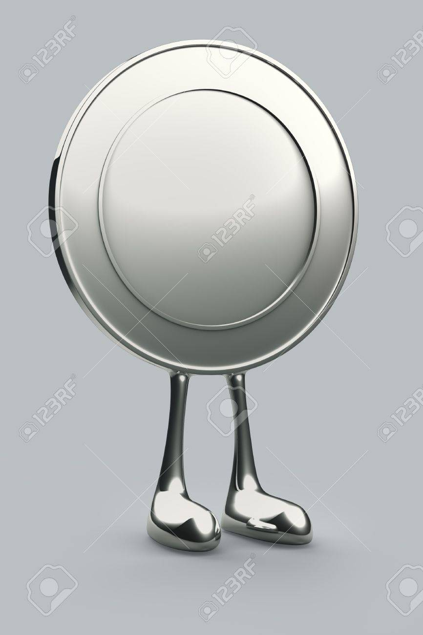 1 coin cartoon Stand Up on ground floor background. Isolated 3d model Stock Photo - 11956386