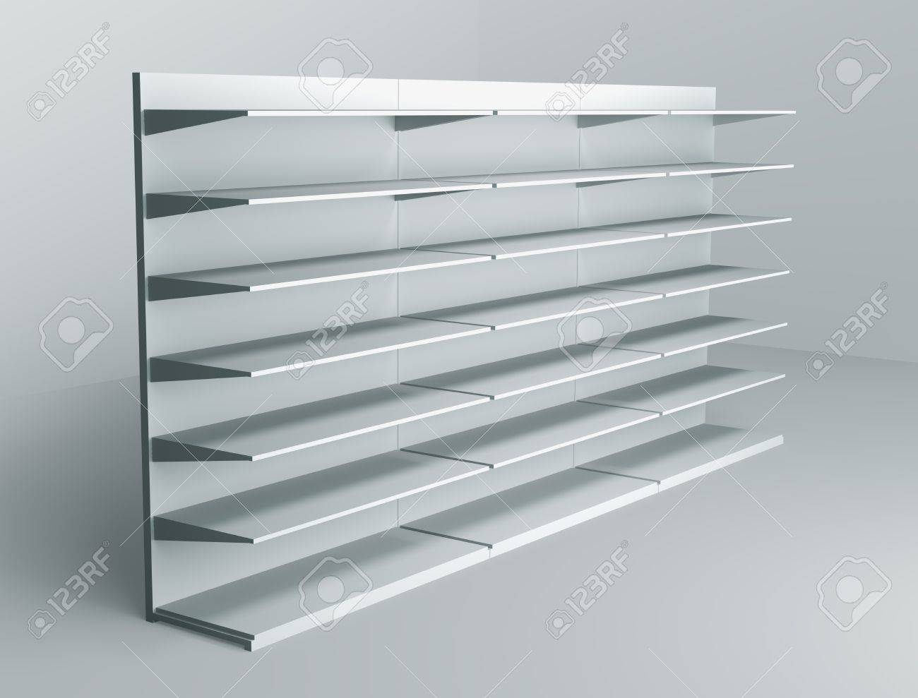 3D shelves and shelf for wrap advertising on a white background. Isolated  Stock Photo -