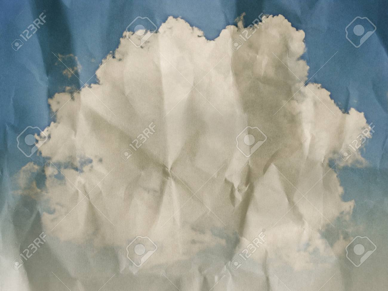 clouds on crumpled paper texture background Stock Photo - 13823205