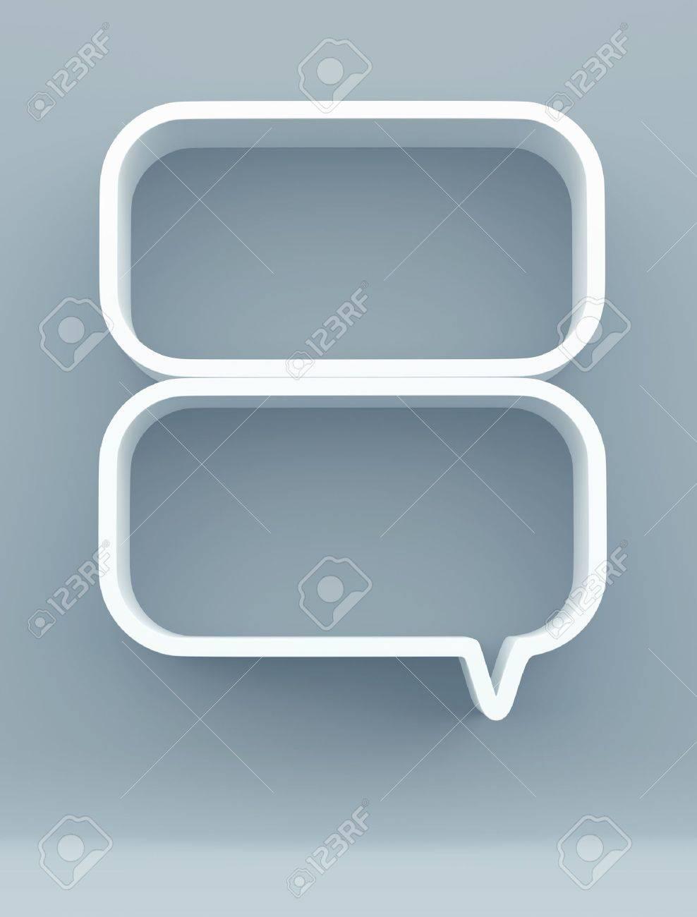 3D shelves design form bubbles speech on background - 14932190