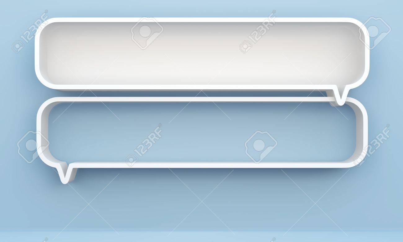 3D shelves design form bubbles speech on background - 14932188