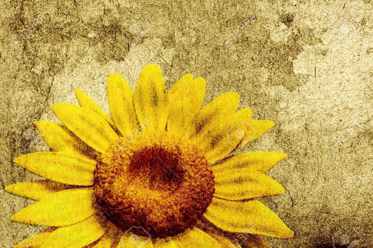 3D Sunflower On Vintage Background Stock Photo