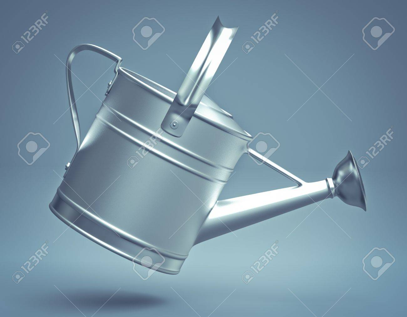 3D silver watering can - 15265724