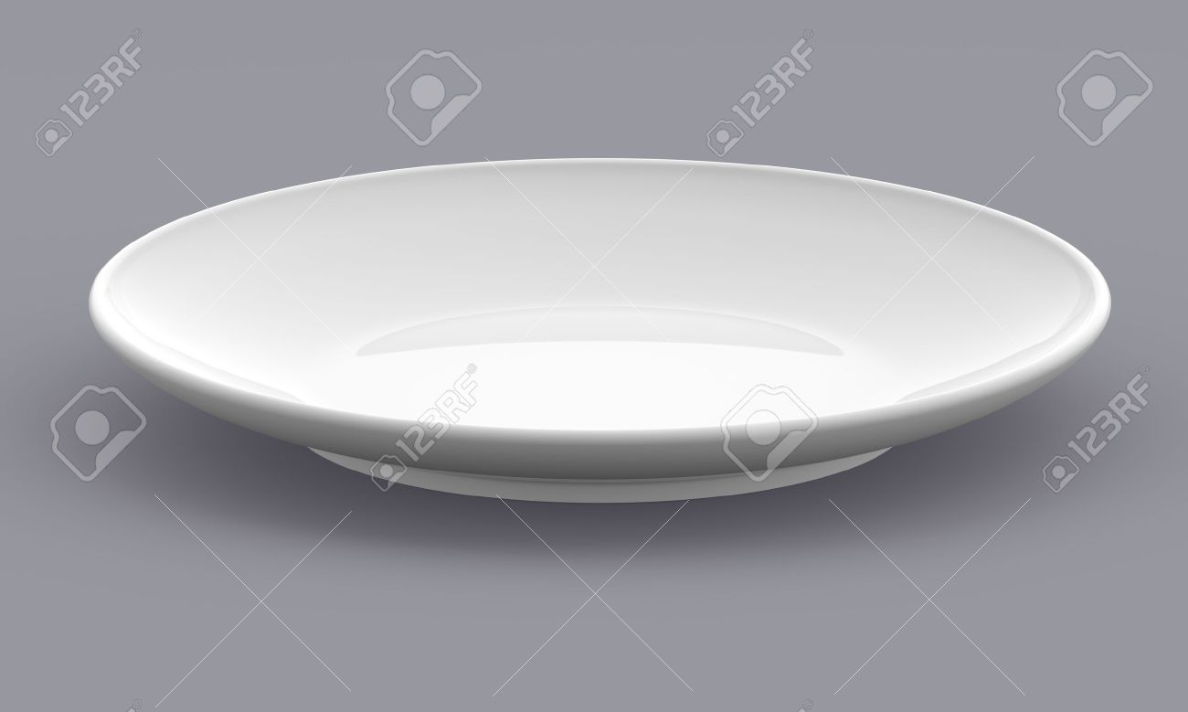 White Sphere Dish plate side view on background Isolated 3d model - 15355324