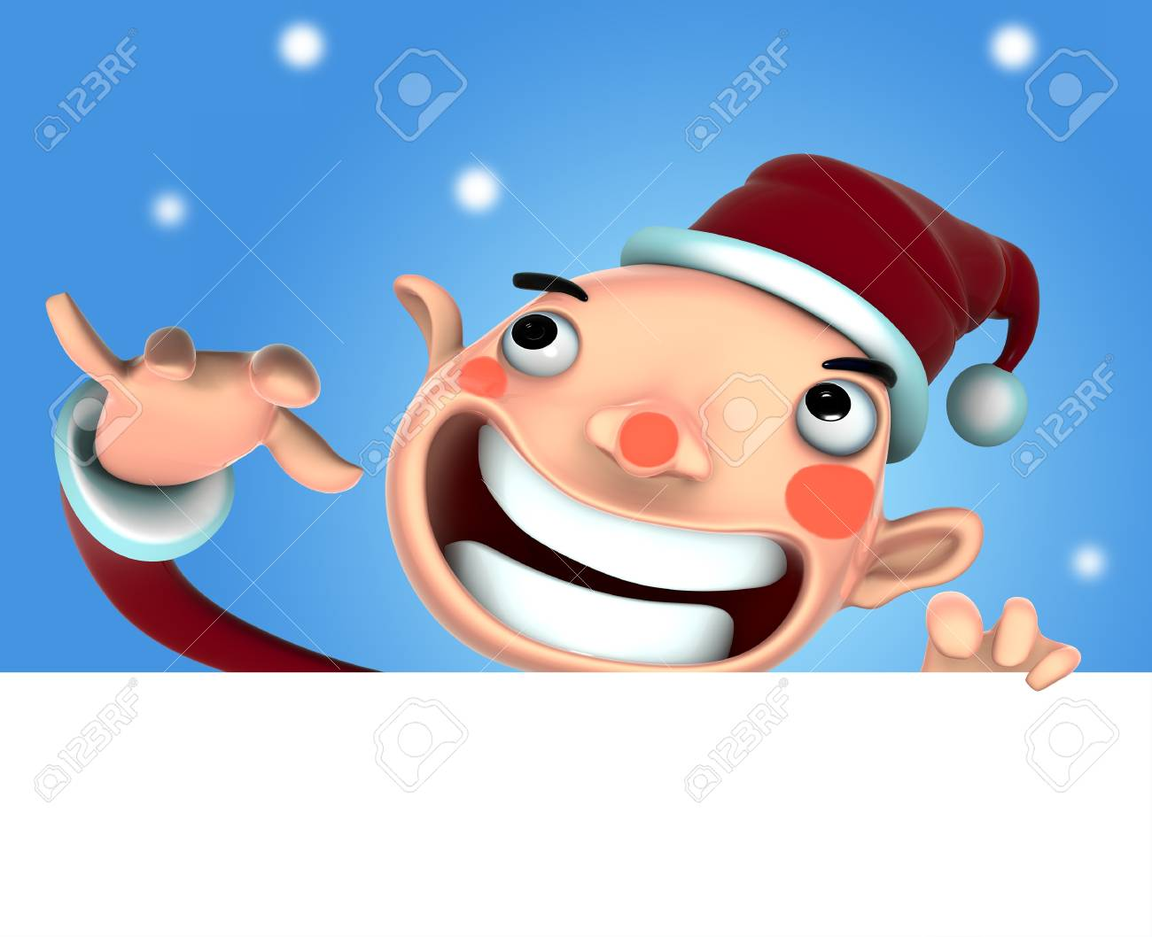 3d Santa Claus illustration smile holding a blank sign on snow background Stock Illustration - 15642697