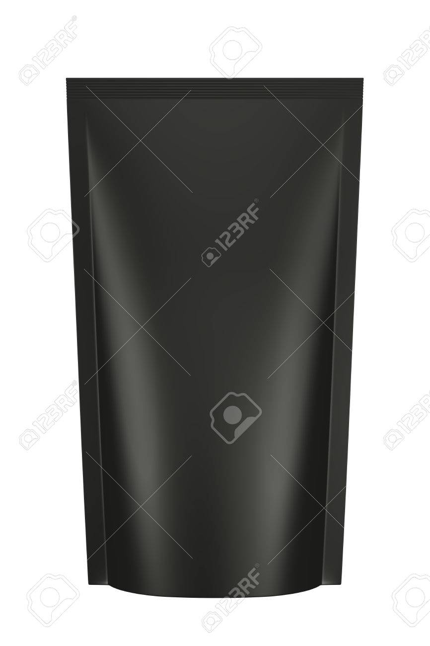 3D black color bag package design, isolated - 29002115