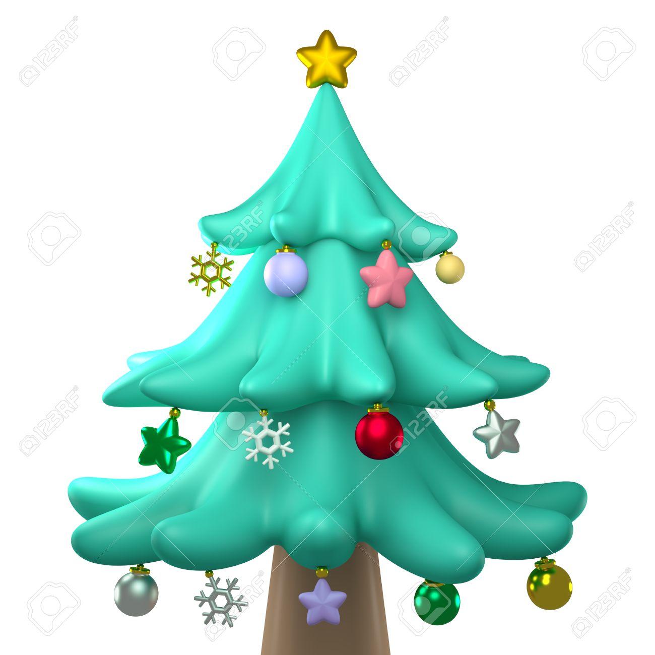 Navidad 3D Plastilina rbol Plastilina Aislado Vista Frontal Fotos