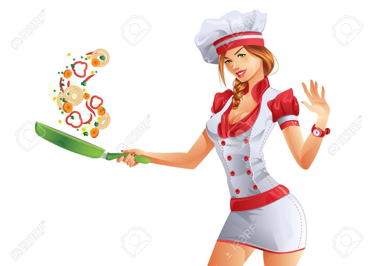 Cooking woman with green fryer pan - 34242512