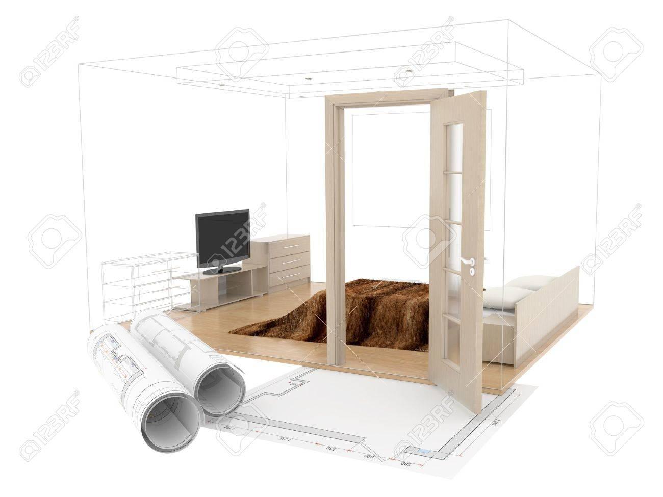 Résumé croquis de conception de l\'intérieur de la chambre. Dessin sur plan  3D. 3d image