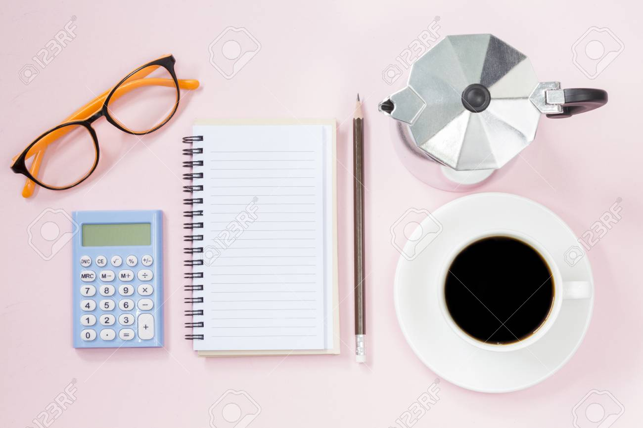 copyspace of topview empyt page and calculator coffee and coffee maker stock photo 82160903