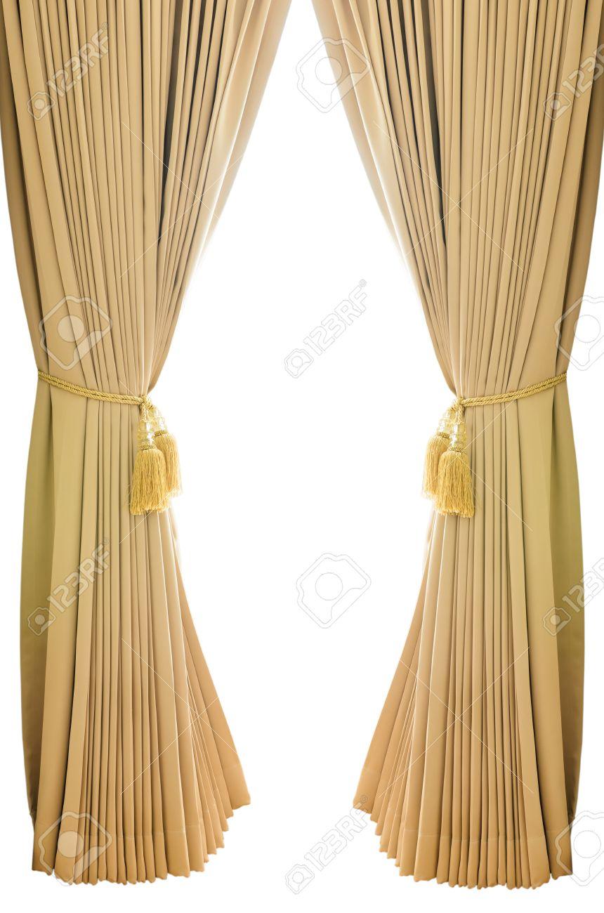 gouden luxe gordijnen met gesoleerde witte achtergrond stockfoto 23081316