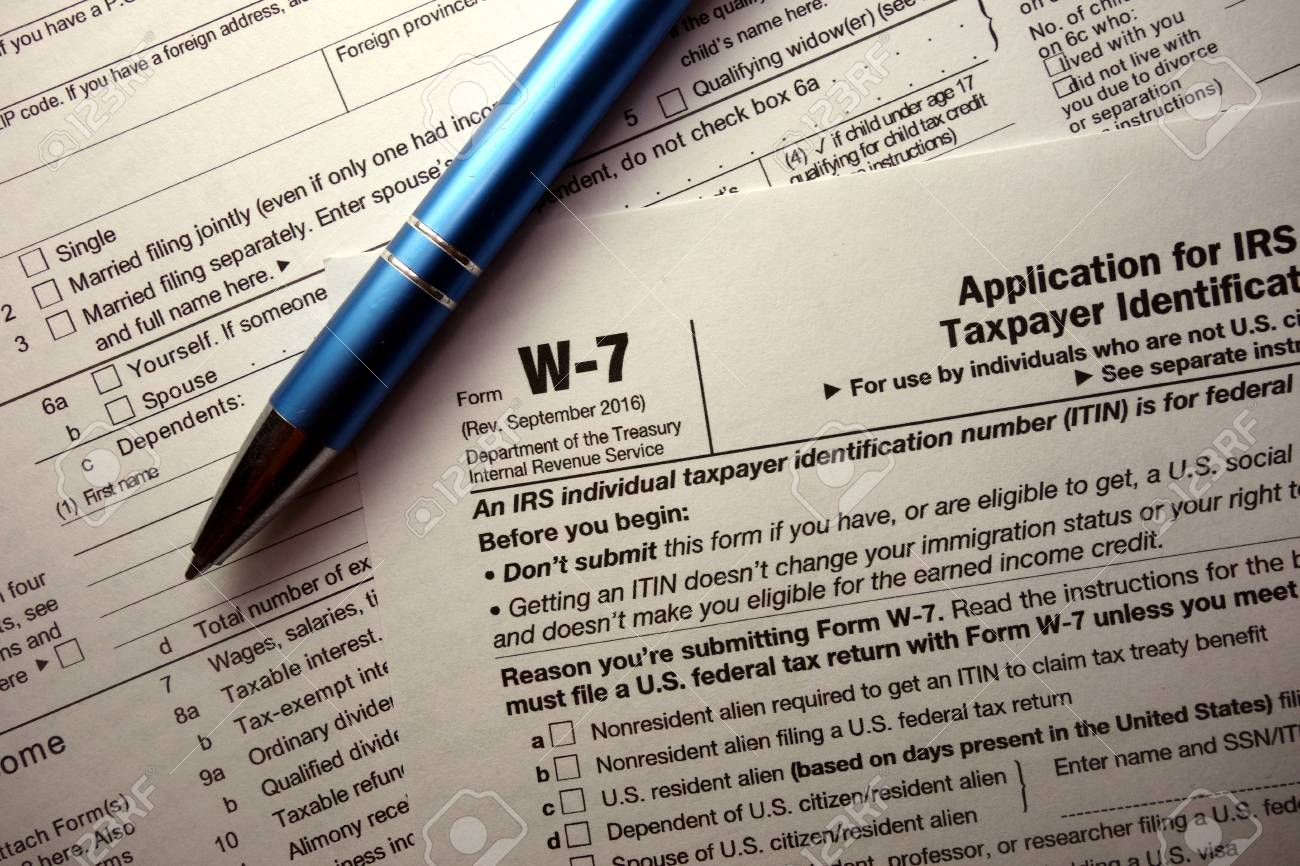 W 7 Tax Form For Non Us Citizens Stock Photo Picture And Royalty