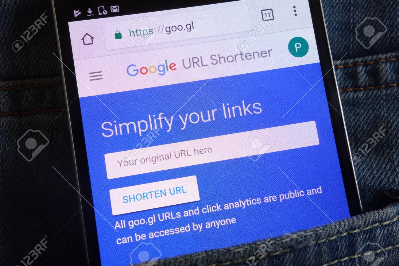 KONSKIE, POLAND - JUNE 02, 2018: Google URL Shortener website