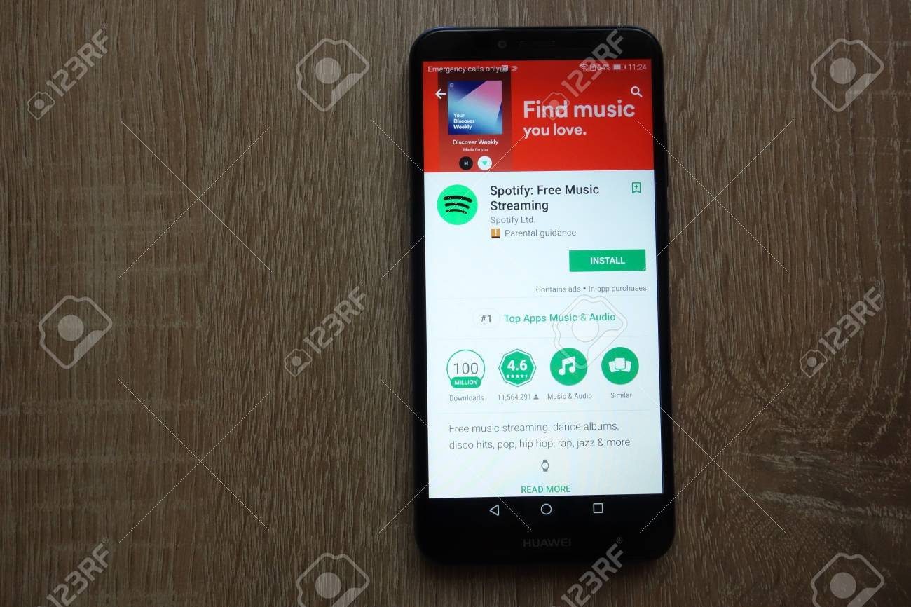 KONSKIE, POLAND - JUNE 17, 2018: Spotify app on Google Play Store