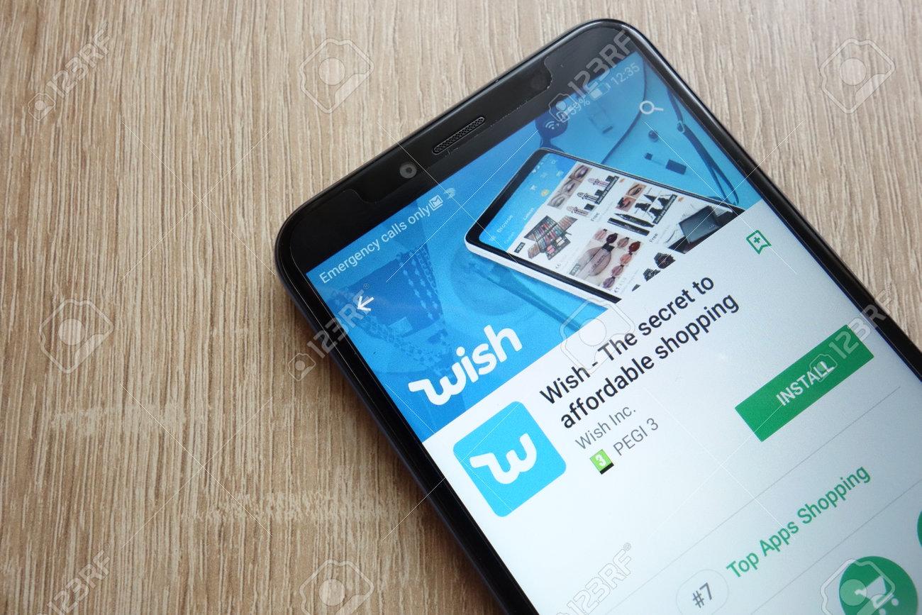 KONSKIE, POLAND - JUNE 17, 2018: Wish app on Google Play Store